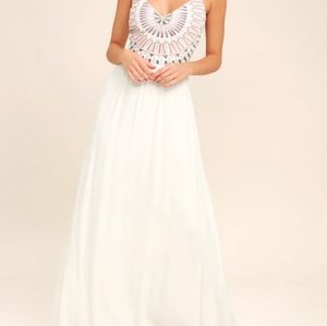LULUS Ascension Island embroidered maxi dress